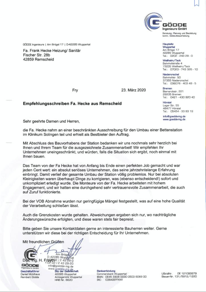 Empfehlungsschreiben der Gödde Ingenieure GmbH