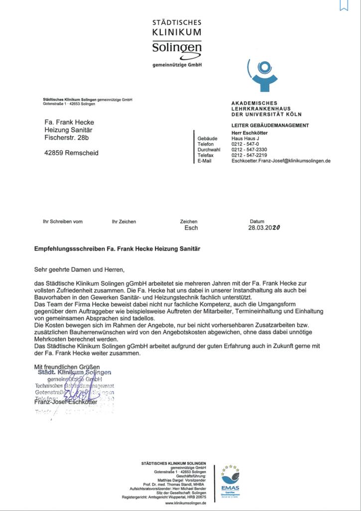 Empfehlungsschreiben des städtischen Klinikums Solingen