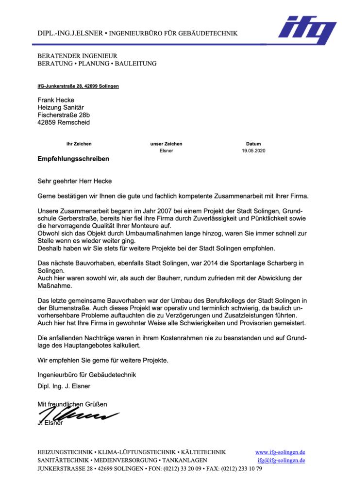 Empfehlungsschreiben des Ingenieurbüros für Gebäudetechnik Elsner